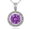 7 克拉紫水晶镶钻纯银吊坠