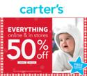 Carters: 全场童装享50% OFF+订单满$40享20% OFF