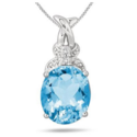 5.75 Carat Oval Blue Topaz and Diamond Pendant in .925 Sterling Silver