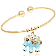 Elephant Charm Cuff Bangles with Swarovski Elements