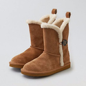 AEO Leather Buttoned Cozy Boots
