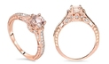 1.25 CTTW Diamond & Morganite Ring in 14K Gold - by Bliss Diamond