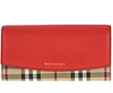Burberry Porter Haymarket Check and Coral Red Leather Continental Wallet