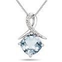 1.25 Carat March Aquamarine and Diamond Pendant