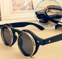 Hot Steampunk Goth Goggles Glasses Retro Flip Up Round Sunglasses