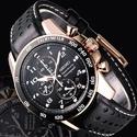 Seiko Sportura Black Dial Chronograph Leather Men's Watch SNAE80