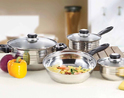 7-Piece Stainless Steel Cookware Set with Aluminum-Encapsulated Base