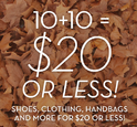 10+10=20: $20 or Less Sale