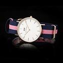 DANIEL WELLINGTON Classic 0505DW Navy and Pink Nylon Ladies Watch