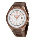 Versace V-Man White Dial Brown Rubber Men's Watch