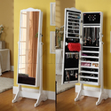 Full-Length Cheval Mirror and Jewelry Armoire