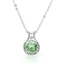 4.00 CTTW Genuine Green Amethyst and Diamond Halo Pendant in Sterling Silver