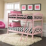 Stork Craft 粉色儿童双层实木床
