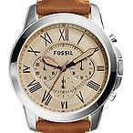 男士棕色皮革手表