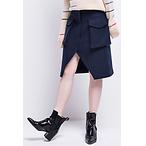 Wool-blended Split Skirt