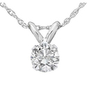 Bliss Diamond 1/3 CTW Round Solitaire Diamond Pendant in White Gold