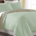 Solid-Color Reversible Leaf Coverlet Set (3-Piece)