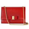 Ferragamo Vara Mini Embossed Leather Shoulder Bag