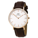 Daniel Wellington 0511DW Women's White Dial Leather Strap Watch