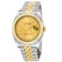 Rolex Datejust Champagne Index Dial Jubilee Bracelet Two Tone Men's Watch