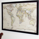 USA or World Magnetic-Pin Travel Map w/ Bonus 20 Pins
