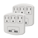 2-Pack Stanley PlugMax 3-Outlet/2-USB Wall Adapter