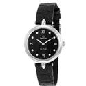Omega De Ville Prestige Black Diamond Dial Leather Strap Ladies Watch
