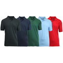 5-Pack Men's Uniform Pique Polo Shirts