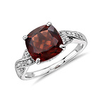Garnet and White Sapphire Ring