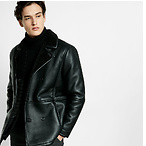 Faux Shearling Military Peacoat