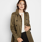 Olive Trapunto Trench Coat