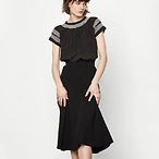 Ribbed Knit Mid-length Skirt