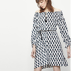 Printed Dress with Tassels