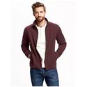 Mock-Neck Sweater-Knit Fleece Jacket for Men
