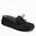 Sueded Sherpa-Lined Moccasin Slippers for Men