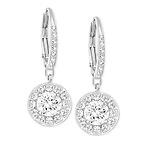 Silver-Tone Crystal Stone Drop Earrings