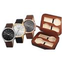 Akribos XXIV Men's Classic Sunray Watch with Genuine Leather Strap