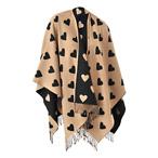 Heart Jacquard Wool Cape