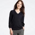 Uniqlo Women's Merino Blend Ribbed V-Neck Sweater