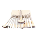 Professional Champagne-Colored Makeup Brush Set (12-, 18-, or 24-Piece)