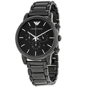 Emporio Armani Classic Black Dial Brushed Black Men's Watch