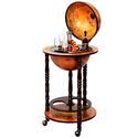 "36"" Wood Globe Wine Bar Stand 16th Century Italian Rack Liquor Bottle Shelf"