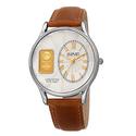 August Steiner Men's Quartz Watch with Leather Strap and Gold Ingot