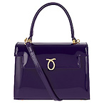 深紫色漆皮托特包