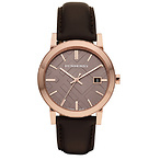 Men's Check Stamped Round Dial Watch