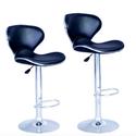 Set of 2 Bar Stools Black PU Leather Modern Hydraulic Swivel Dinning Chair