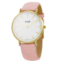 Cluse La Boheme White Dial Pink Leather Ladies Watch