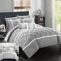 Reversible Pinch-Pleated and Geometric Comforter Set (10-Piece)