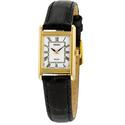 Seiko Solar White Dial Black Leather Ladies Watch