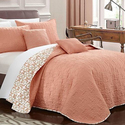 Calypso Quilted Flor De Lis Printed Quilt Set with Decorative Pillows (4- or 5-Piece)